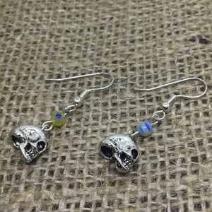 Handmade skull floral earrings